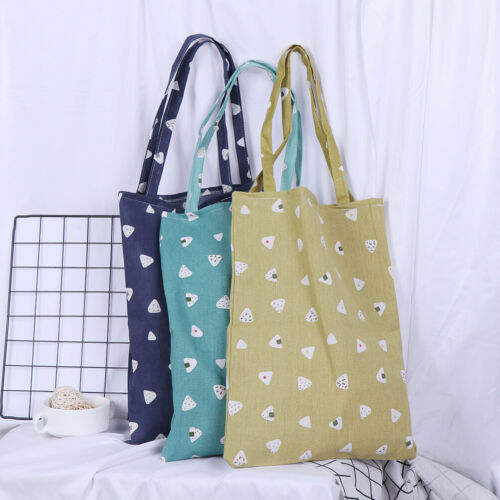 1x Cute pattern linen bag tote ECO shopping outdoor canvas shoulder bagsTS