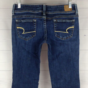 American-Eagle-Skinny-Women-Size-0-Short-Stretch-Med-Wash-Low-Rise-Bootcut-Jeans