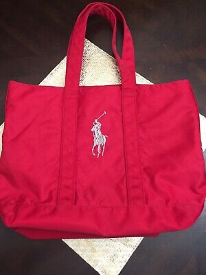 Red Polo Ralph Lauren Tote Bag Silver