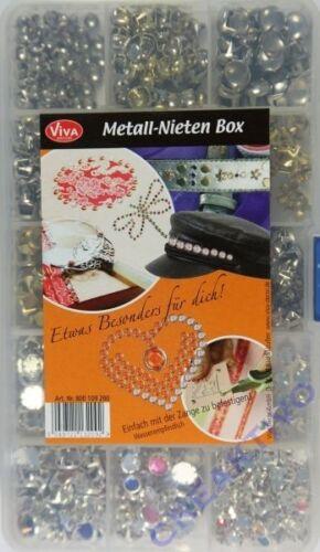 1000 Deko-Metall-Nieten in Aufbewahrungsbox VIVA DECOR f Handtaschen Schuhe 1092
