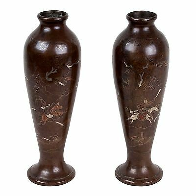 China 18./19 Jh Cinese Chinois Vasen A Pair Of Chinese Bronze & Silver Vases