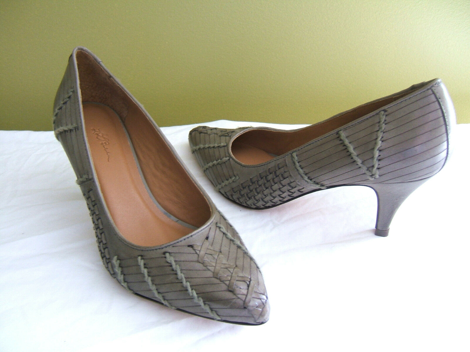 NEW! L.L. Bean Signature Woven Woven Signature Pumps Gorgeous Leather Olive Green Heels 10M $179 9320cf