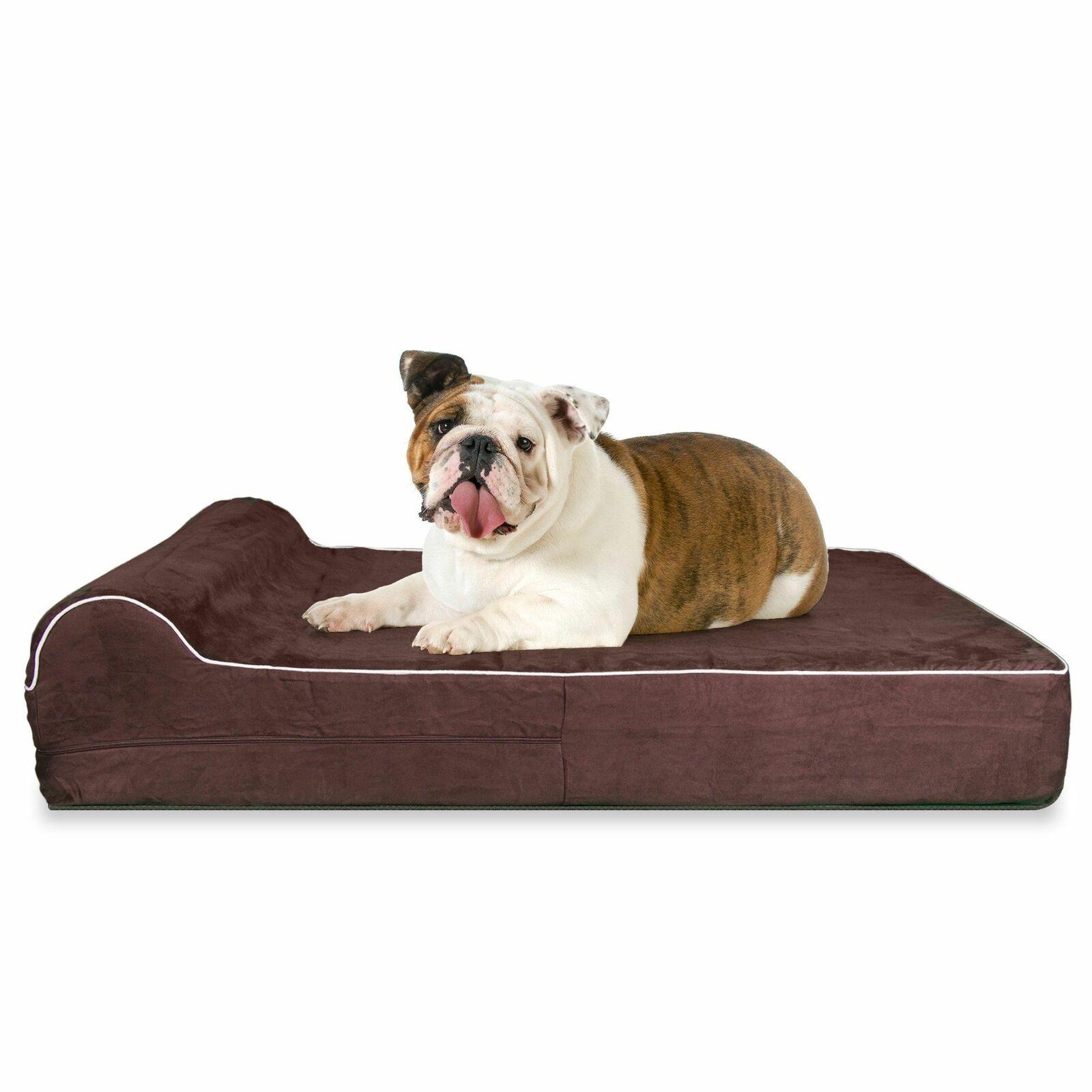 Orthopedic Waterproof Memory Foam Bed With Pillow Brown  Large