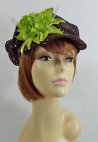 Brown Sparkling Newsboy Hat W/ Flowers For Ladies Of Society Or Derby Day