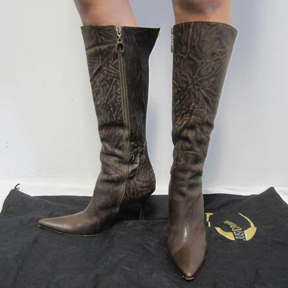 JUST CAVALLI women's brown distressed leather heel boots sz 38