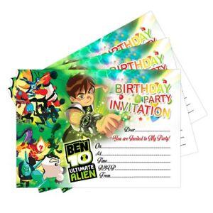 Detalles De 20 X Ben 10 Tarjetas Invitaciones Invita A Fiesta De Cumpleaños Niños Niñas Niños Niños Ver Título Original