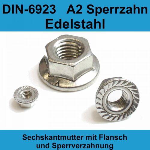 M5 DIN 6923 A2 Edelstahl Sechskantmuttern mit Flansch Sperrverzahung Bund Mutter