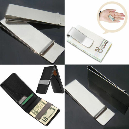 Men ID Card Coin Photo Holder Stainless Steel Money Clip Wallet Purse Accessory