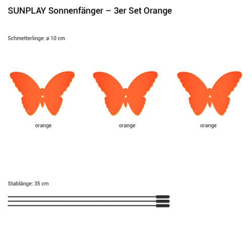 SUNPLAY Sonnenfänger Ø10cm 3er-Set Suncatcher Gartenstecker Schmetterling ORANGE
