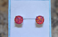 Colourful 925 Silver Plated Tropical Red Fire Opal 7mm Stud Earrings