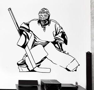 Vinyl Wall Decal Ice Hockey Winter Sports Puck Goalkeeper Stickers 2165ig