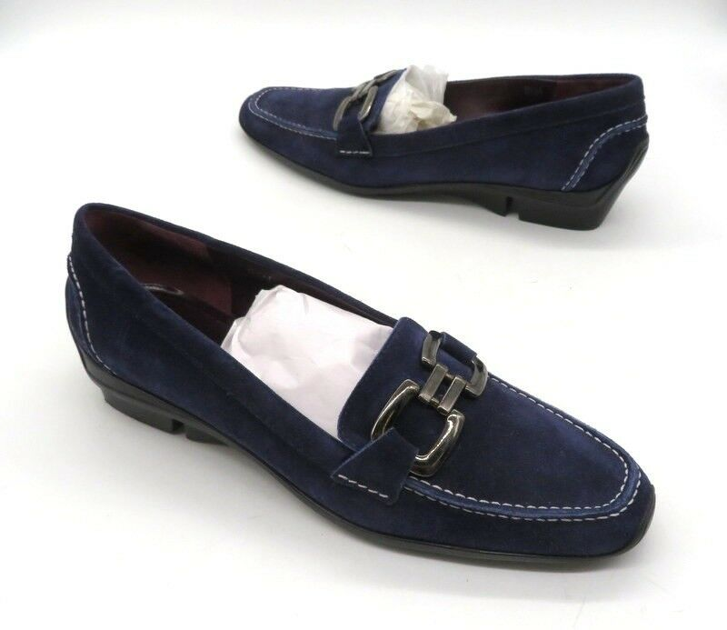 VIA SPIGA Size 8.5 Purple Suede Slip On Buckle Small Wedge Loafers Shoes
