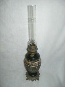 LAMPE-A-PETROLE-PERSONNAGES-TERRE-CUITE-BRONZE-et-LAITON-PEINT
