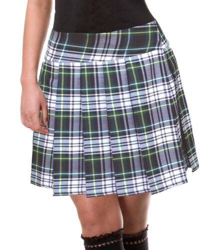 "GREEN//WHITE//YELLOW SCHOOLGIRL TARTAN PLAID PLEATED LONG SKIRT Edinburgh 17/"""