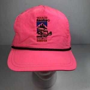 Texaco-Mavoline-Grandprix-Of-Denver-Vintage-Made-In-USA-Snapback-Pink-Neon-Hat