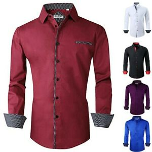 Fashion-Solid-Men-Shirt-Formal-Dress-T-shirt-Long-Sleeve-Slim-Fit-Tops-Blouse