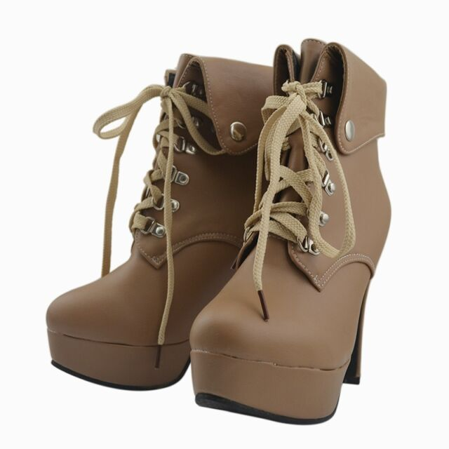 Lady New Winter High Heel Booties Plush Lined Ankle Boots Lace-Up Shoes Stiletto