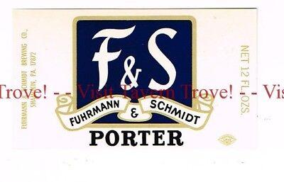 Unused 1955 PENNSYLVANIA Shamokin Fuhrman Schmidt F/&S BEER 12oz Label Set