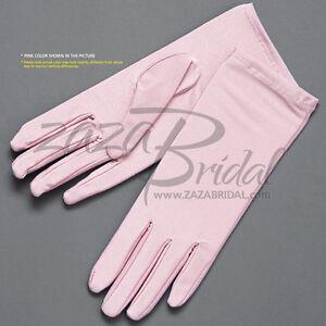 4-Way-Stretch-Matte-Finish-Satin-Dress-Gloves-Wrist-Length-2BL-Various-Colors