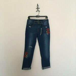New-Stitch-Star-Distressed-Embroidered-Slim-Boyfriend-Jeans-Size-4-Women-039-s