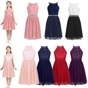 3f6338967b Details about Flower Girl Princess Dress Kids Pageant Wedding Jr.Bridesmaid  Party Halter Dress