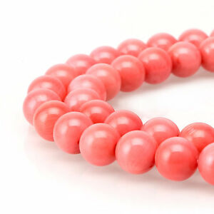 Pink-Coral-Smooth-Round-Loose-Beads-Siz-3-4-6-8-10mm-15-5-034-Long-R-S-COR-0354