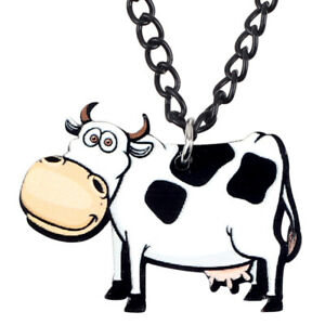Image is loading Acrylic-Cartoon-Dairy-Cow-Necklace-Pendant-Choker-Jewelry-