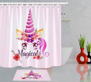 72x72/'/' Unicorn Head Foral Colored Bathroom Shower Curtain Waterproof 12 Hooks
