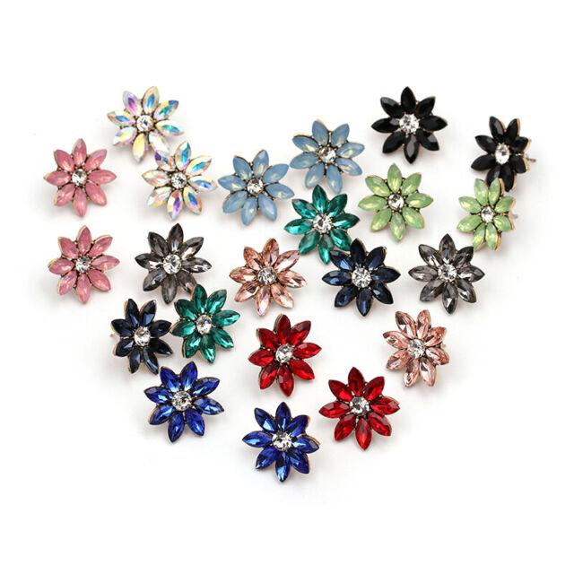 1Pair Fashion Women Rhinestone Crystal Flower Stud Mixed-color Earrings Jewelry
