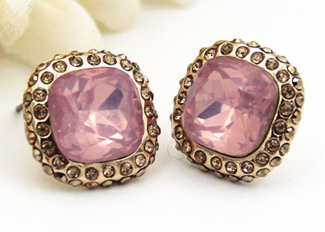 Hot Woman Pink Crystal Gold Plated Long Ear Stud Hoop Earrings Christmas Gift