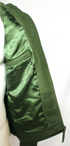Buck Men/'s Gents Green Designer American Casual Hooded Quilted Leather Jacket