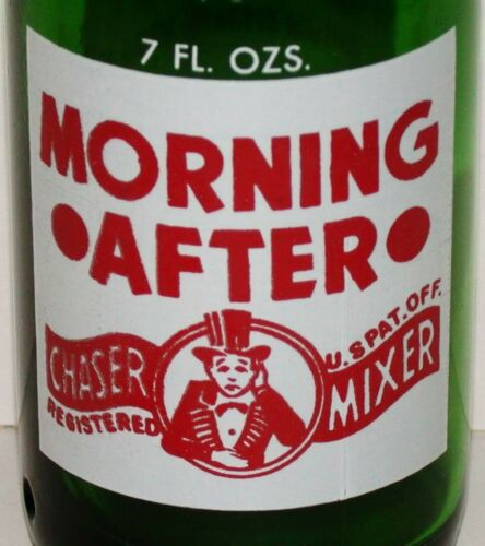 Vintage soda pop bottle MORNING AFTER man with hangover 1965 Red Arrow Detroit