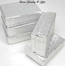 New Boxes Wholesale Lot Of 10 Jewelry Gift Metallic Silver Foil Cotton Filled