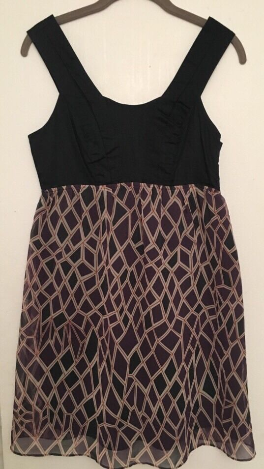 Gentle Fawn Summer Cotton Blau With Print Dress Halter Sz S
