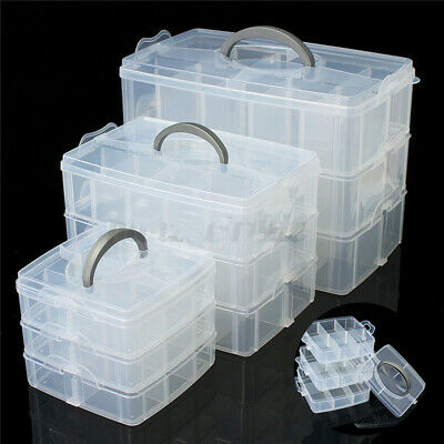 3 Layer Clear Plastic Jewelry Bead Storage Box Container Organizer Case Craft US