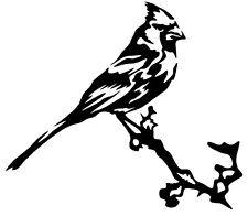 CARDINAL BIRD on a BRANCH Vinyl Decal Sticker Car Window Wall Bumper Cool Animal