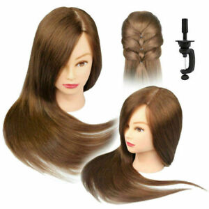 100-cabello-humano-Real-Salon-Peluqueria-Maniqui-Cabeza-De-Entrenamiento-Muneca-amp-Abrazadera