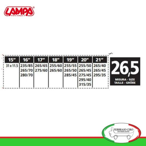 Catene da neve 31x11.5r15 12mm Suv Lampa S12 Gruppo 26,5-16471