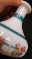 early Fenton art glass Vase / white opaline 8 panels 8 flowers hand painted RARE