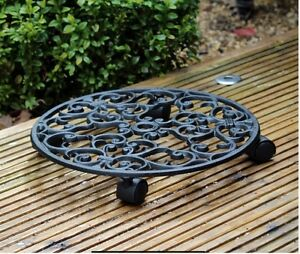 Image Is Loading Cast Iron Heavy Plant Planter Pot Mover Trolley