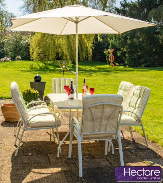 Fine White 6 Seater Outdoor Dining Furniture Reversible Set Garden Table Chairs Onthecornerstone Fun Painted Chair Ideas Images Onthecornerstoneorg