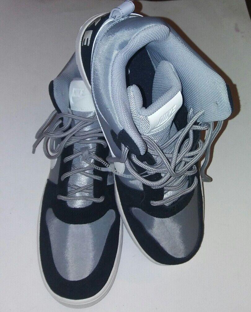 Nike Court Borough Mid Premium 844884-005 Mens Shoes Black & Silver Sz 12