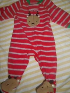 Image is loading nwt-Carters-fleece-Christmas-reindeer-footed-pajamas-baby- a37d2bd1b