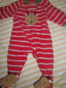 Image is loading nwt-Carters-fleece-Christmas-reindeer-footed-pajamas-baby- 5368bdefc