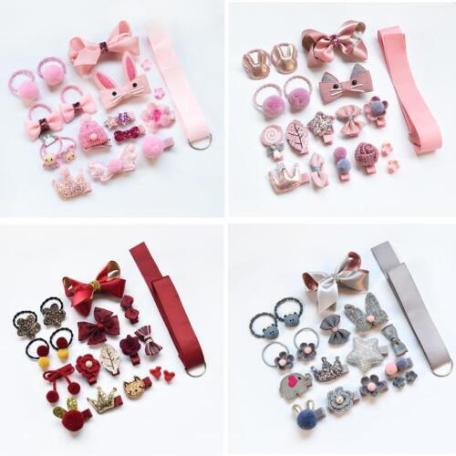 18PCS Baby Girls Head wear Elastic Bow knot Hair Clip Barrette Hairpin Xmas Gift