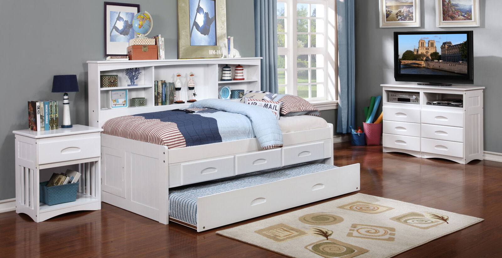 Twin Bookcase Day Bed With 3 Drawer Storage And Twin Trundle Bed In White Finish For Sale Online