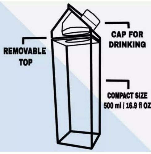 500ML Plastic Clear Transparent Milk Carton Water Bottle FREE FAST SHIPPING