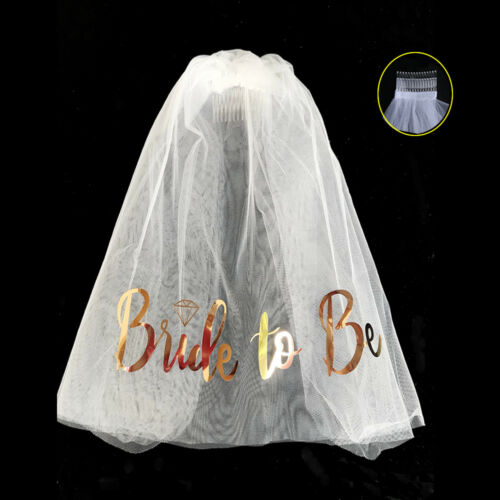 Veil Comb with Gold Bride to Be Wedding Hen Night Bachelorette Party Do