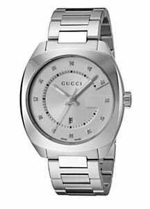 a126d75a62a NEW Gucci YA142403 Men s Swiss Quartz Stainless Steel Dress Silver ...