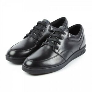 Front SNOWDEN Boys Junior Leather Tramline Chisel Toe Lace-Up School Shoes Black